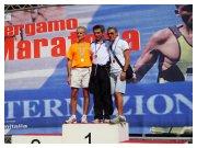 Bergamo 25 settembre 2011 - Pino Sestito sul terzo gradino del podio dei Campionati Italiani di Maratona 2011 categoria M50