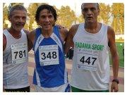 Cosenza. Podio Campionati italiani master 10000m M50: da sinistra Sestito, Vagnoli, Barletta.